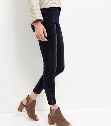 Navy Zip Hem Skinny Jeans