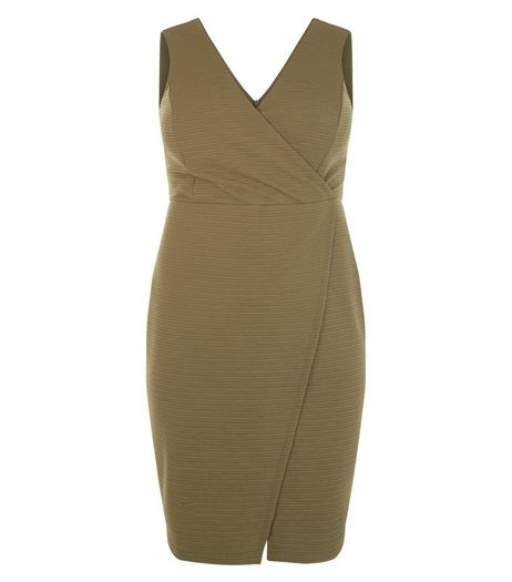 Curves Khaki Textured Wrap Dress | New Look