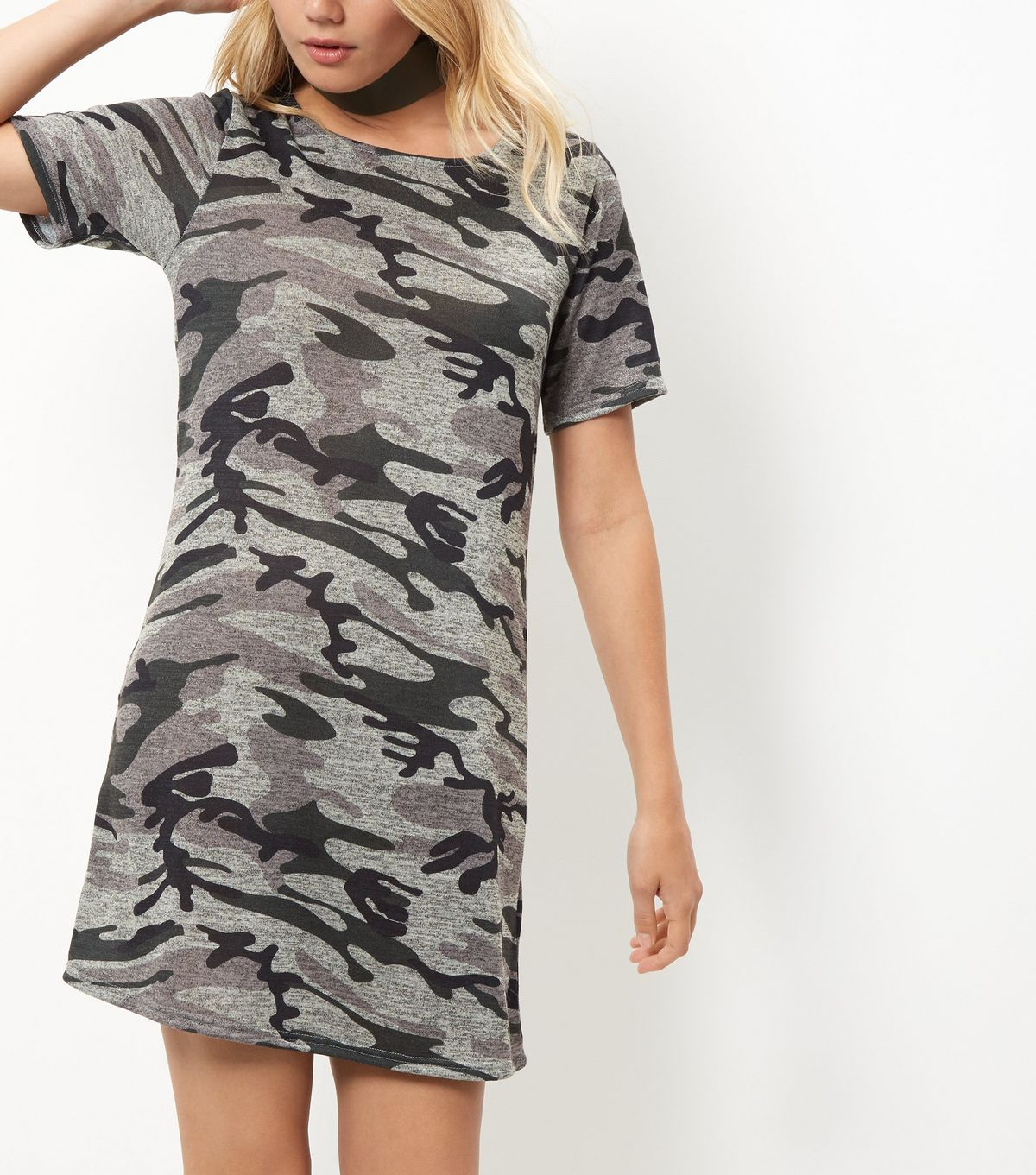 Green Camo Print Tunic Dress  | New Look