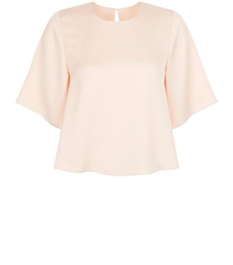 Shell Pink Satin 3/4 Sleeve Top | New Look