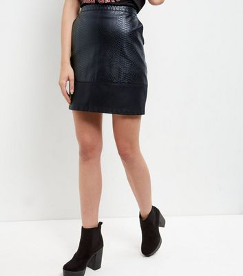 Black Textured Contrast Panel A-Line Skirt