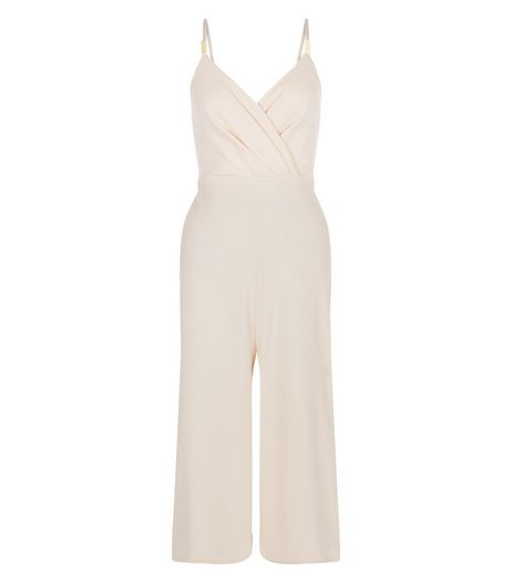 QED Shell Pink Wrap Culotte Jumpsuit  | New Look