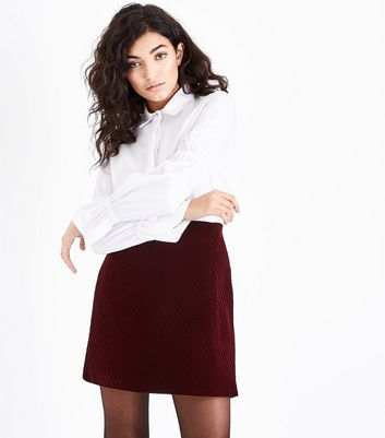 Burgundy Velvet Textured Mini Skirt