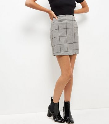 Grey Grid Check Wrap Front Mini Skirt