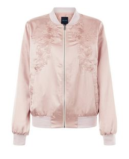 Shell Pink Embroidered Bomber Jacket  | New Look
