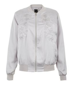 Silver Embroidered Bomber Jacket  | New Look