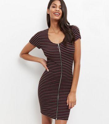 Black Ribbed Stripe Zip Front Bodycon Dress