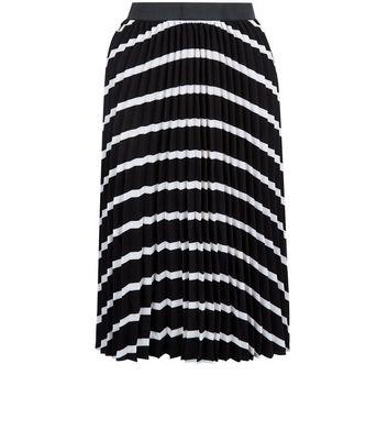 Product photo of Petite black stripe pleated skirt