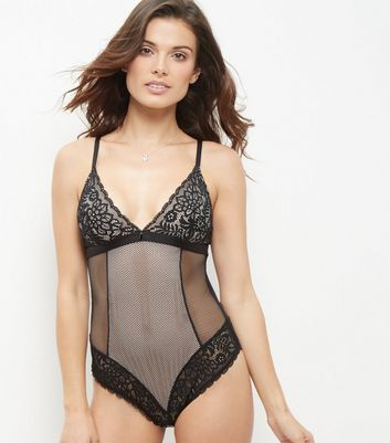 Black Fisnet and Lace Bodysuit