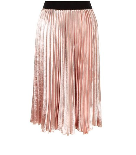 Petite Shell Pink Sateen Pleated Midi Skirt | New Look