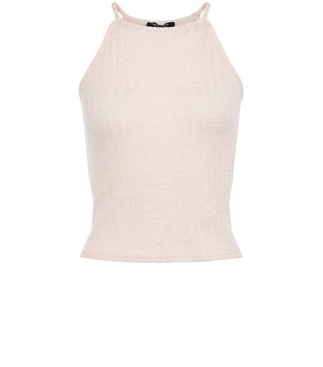 Teens Shell Pink Space Dye High Neck Cami | New Look