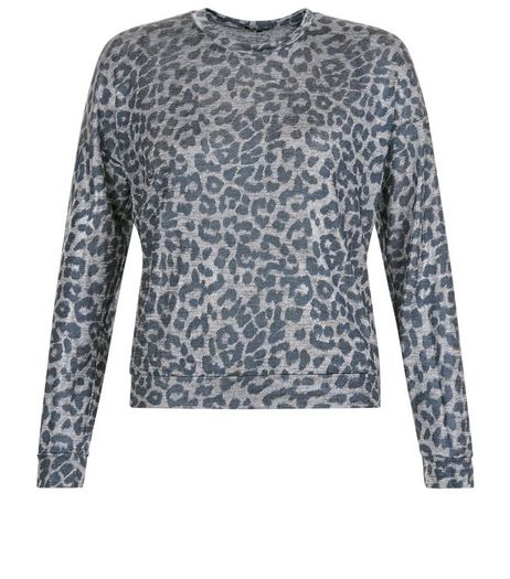 Petite Grey Animal Print Top | New Look