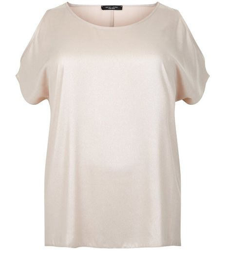 Curves Shell Pink Chiffon Cold Shoulder Top | New Look