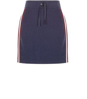 Gonna  donna Navy Ribbed Tape Stripe Side Mini Skirt
