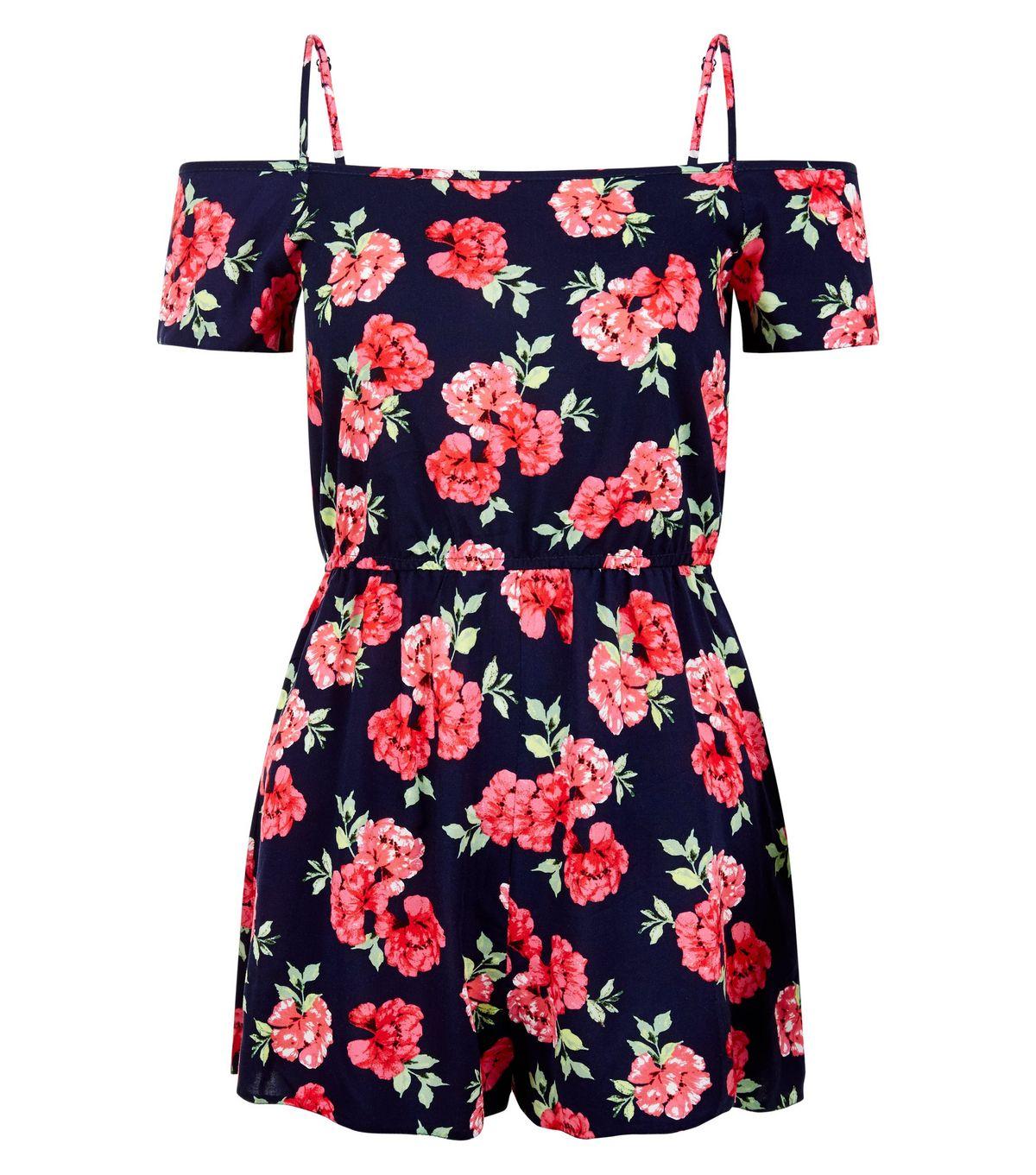 Combi-short ado noir à imprimé roses et épaules dénudées | New Look