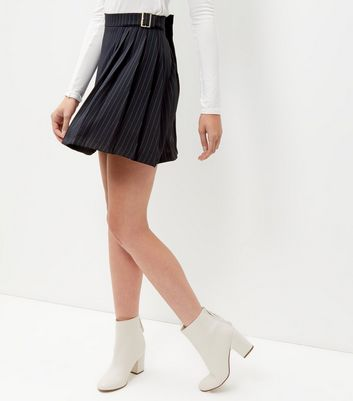 Navy Pinstripe D-Ring Belted Pleated Skirt