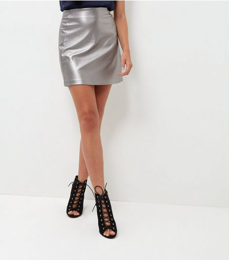 Silver Metallic A-Line Skirt  | New Look