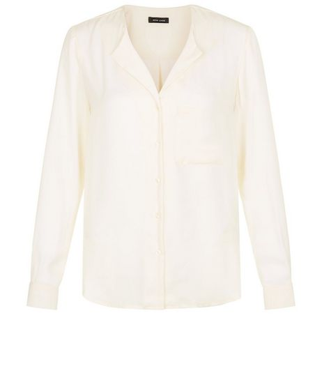 Cream Satin Long Sleeve Shirt | New Look