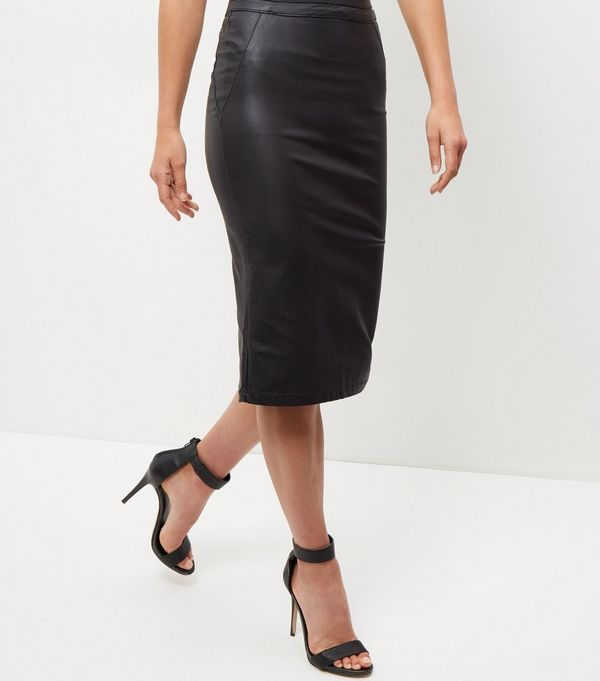 Black Leather-Look Pencil Skirt