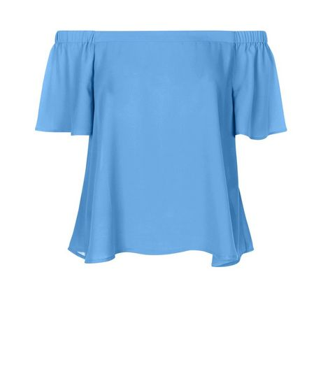 Blue Bardot Neck Frill Sleeve Top  | New Look