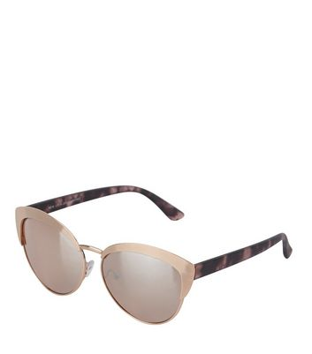 Gold Contrast Arms Cat Eye Sunglasses