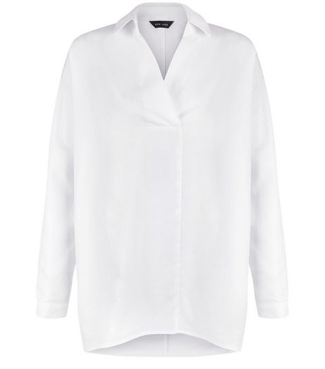 White V Neck Collared Blouse  | New Look