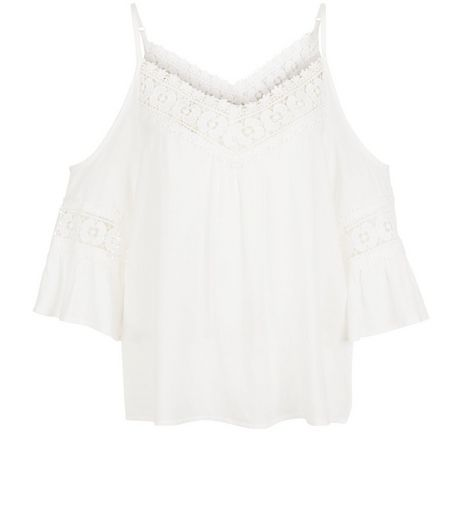 Parisian White Crochet Panel Cold Shoulder Top | New Look