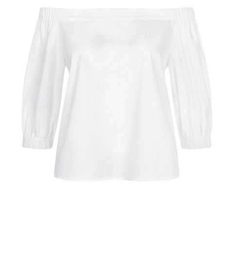White Bardot Neck 3/4 Sleeve Top  | New Look