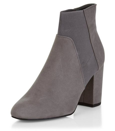 Wide Fit Grey Suedette Elasticated Ankle Boots  | New Look