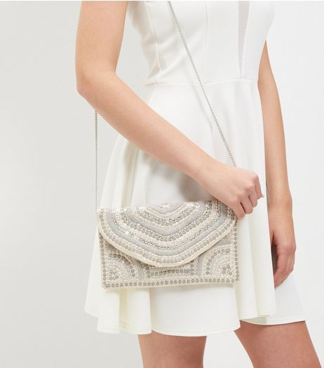 Cream Bead Embellished Envelope Clutch | New Look