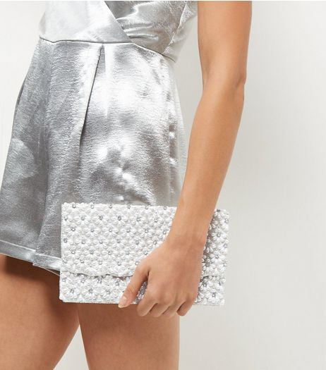 White Embellished Clutch | New Look