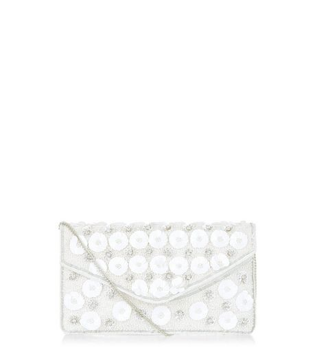 White Floral Embellished Envelope Clutch | New Look