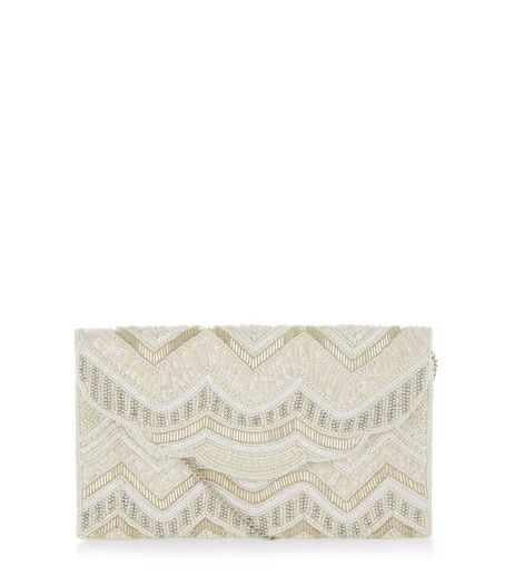 White Bead Embellished Zig Zag Print Clutch | New Look