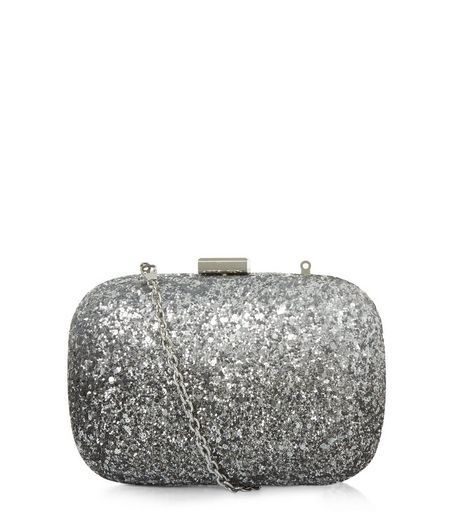 Silver Glitter Box Shoulder Bag | New Look