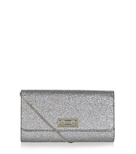 Silver Glitter Twist Lock Clutch | New Look
