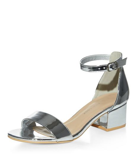 Teens Silver Patent Heeled Sandals | New Look