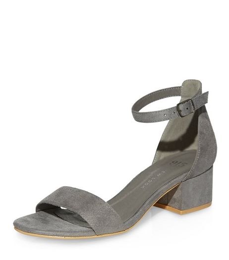 Teens Grey Suedette Block Heel Sandals | New Look
