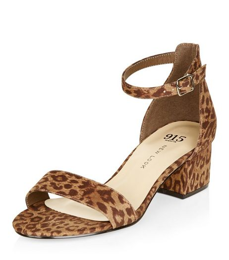 Teens Stone Animal Print Suedette Block Heel Sandals | New Look