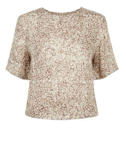 Apricot Stone Abstract Print Boxy Top | New Look