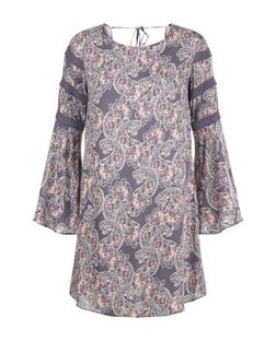 Apricot Grey Paisley Print Tunic Dress | New Look