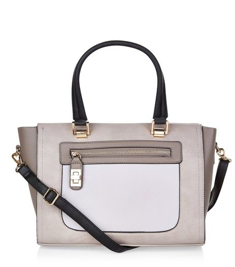 Grey Colour Block Tote Bag | New Look