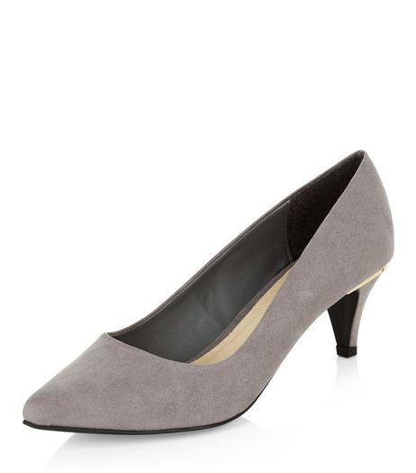 Wide Fit Grey Comfort Suedette Pointed Mid Heels  | New Look