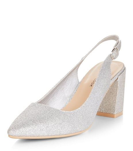 Wide Fit Silver Glitter Sling Back Flared Heels  | New Look