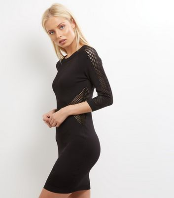 Blue Vanilla Black 34 Sleeve Mesh Jumper Dress
