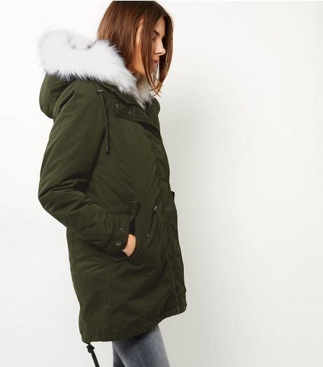 Blue Vanilla White Faux Fur Hooded Parka  | New Look