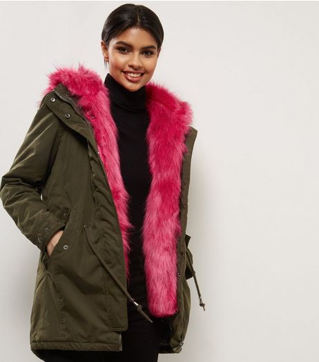 Blue Vanilla Pink Faux Fur Hooded Parka | New Look