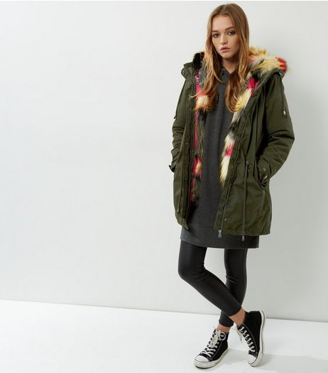 Blue Vanilla Khaki Faux Fur Hooded Parka  | New Look