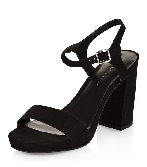 Wide Fit Black Suedette Ankle Strap Block Heel Sandals  | New Look