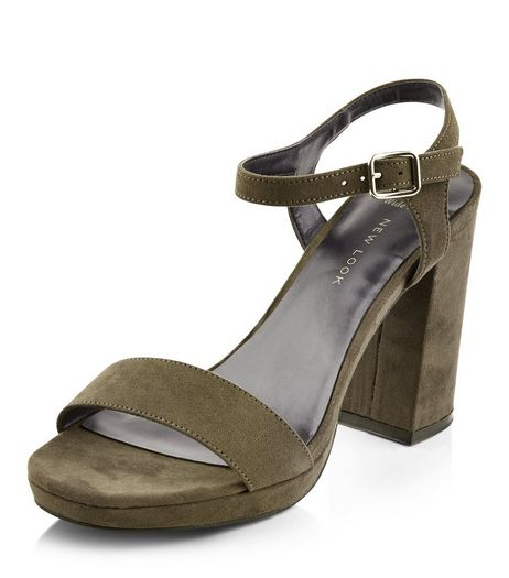 Wide Fit Khaki Suedette Ankle Strap Block Heel Sandals | New Look