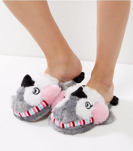 White Penguin Mule Slippers | New Look